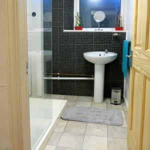 Male bathroom showing shower and sink